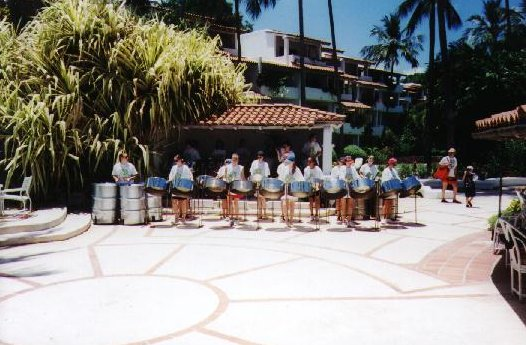 Our first gig, at the Glitter Bay hotel