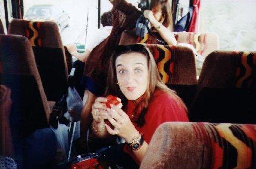 A guilty looking Caroline Ede, cello player