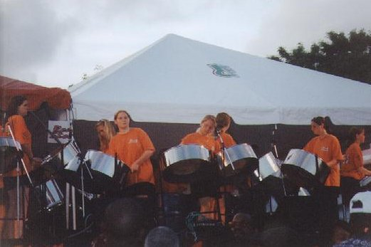 Playing at the Bajan cultural festival