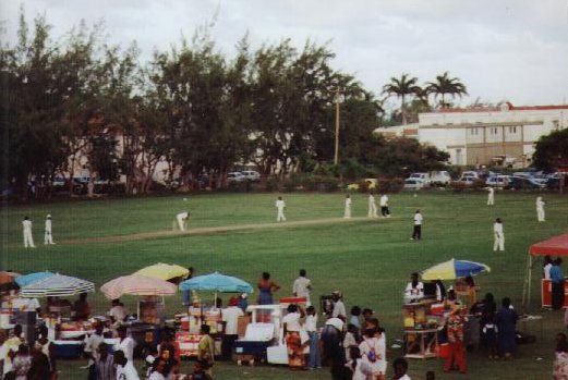 Cricketers at the Bajan Cultural Vilage